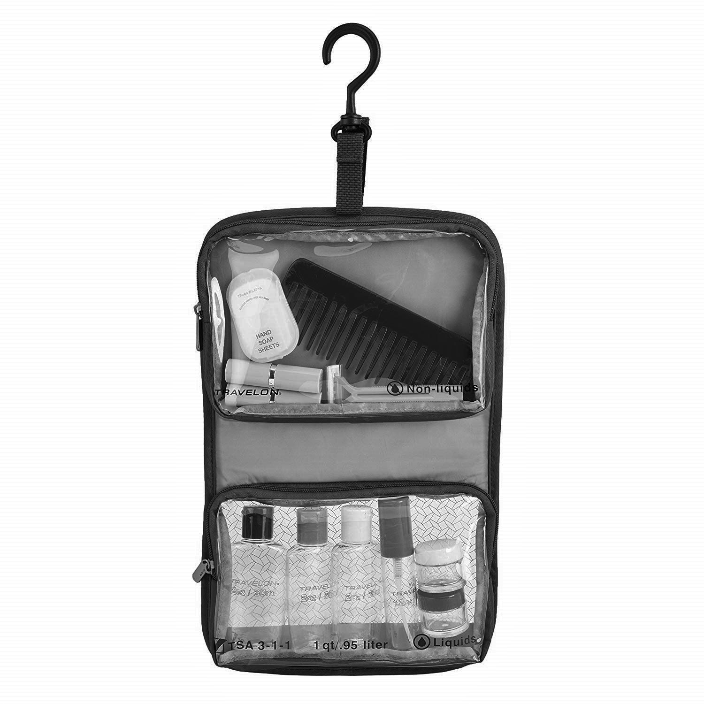 Travelon toilettilaukku + matkapullosetti yhdistelmä, TSA